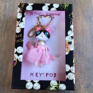 BetseyJohnson ballerina cat key fob, NWT